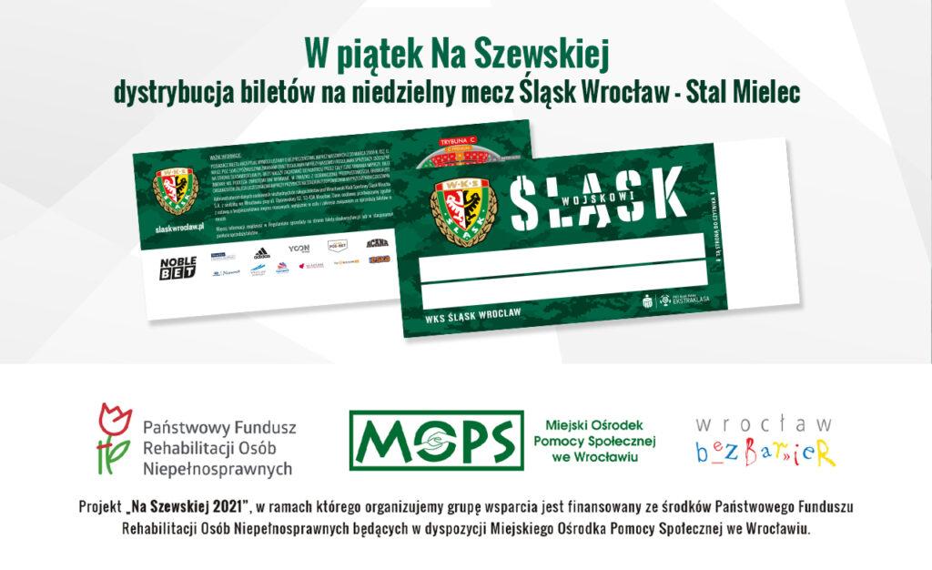 Baner z napisem W piątek Na Szewskiej dystrybucja biletów na niedzielny mecz Śląsk Wrocław - Stal Mielec, w dolnej części logotypy projektu