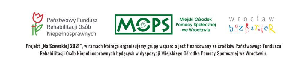 Logotypy projektu Na Szewskiej, od lewej PFRON, MOPS Wrocław i Wrocław bez barier